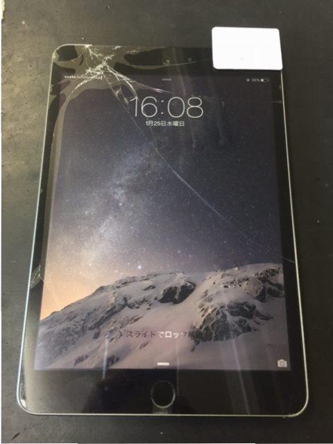 iPadmini3ガラス割れ交換修理!千葉市川市よりご来店。